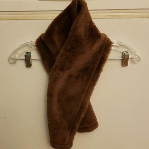 Club Monaco 100% Leather faux fur scarf